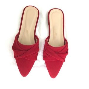 Shoes - Red faux suede mules slip on flats 6